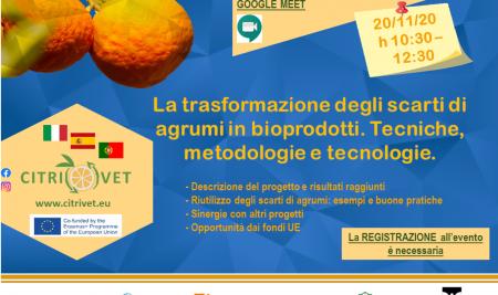 Seminario online Progetto Citrivet: la trasformazione degli scarti di agrumi in bioprodotti. Tecniche, metodologie e tecnologie